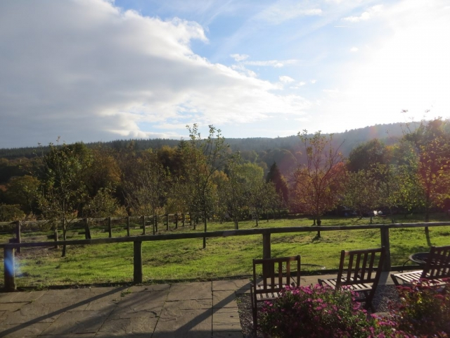 View from the cottage terrace across the hills of the Wye Valley with Autumn colours