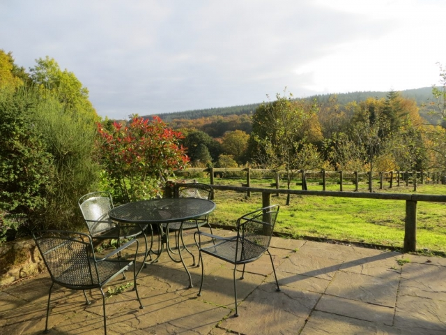 Cottage south facing terrace in the Autumn