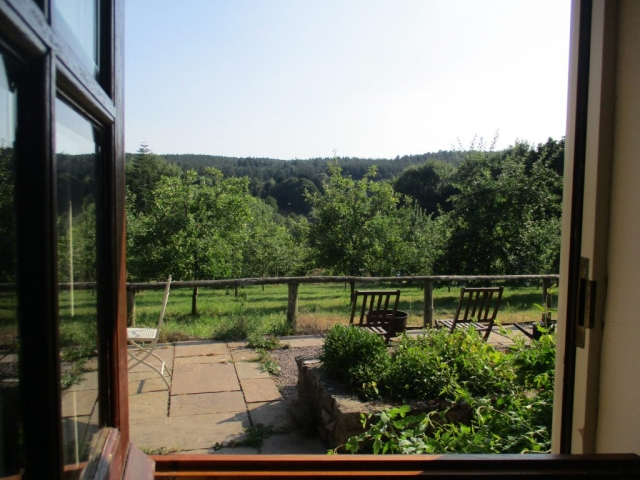 View through the stable door, across the Wye Valley